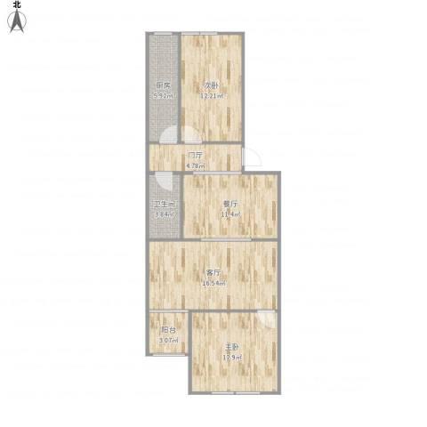 望京西园一区2室2厅1卫1厨96.00㎡户型图
