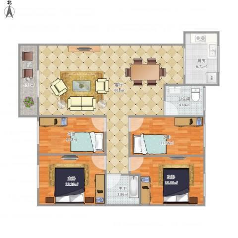 乐景花园7222014室1厅1卫1厨150.00㎡户型图
