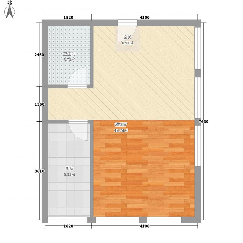 三水合一花园56.43㎡海岛1号6户型1室1厅1卫1厨