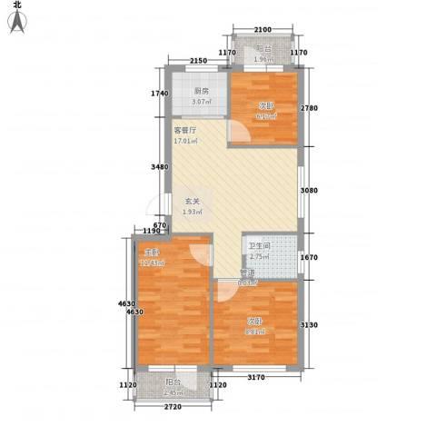俪水豪庭3室1厅1卫1厨78.00㎡户型图