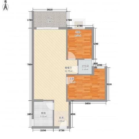惠州蓝湾半岛2室1厅1卫1厨83.00㎡户型图
