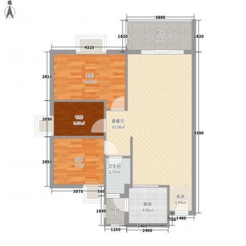 惠州蓝湾半岛3室1厅1卫1厨72.45㎡户型图