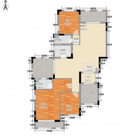 华发・蔚蓝堡3室1厅2卫1厨175.00㎡户型图