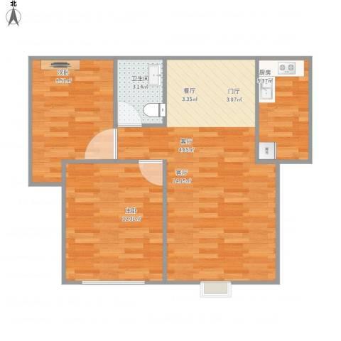 银河御凰苑2室1厅1卫1厨75.00㎡户型图