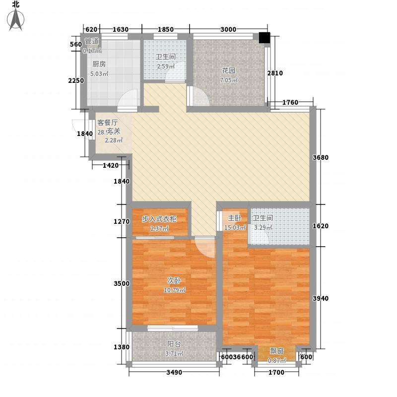 学林雅苑114.00㎡第一期第四栋C2户型2室1厅1卫1厨