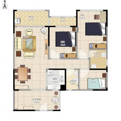 优越香格里3室1厅2卫1厨105.00㎡户型图