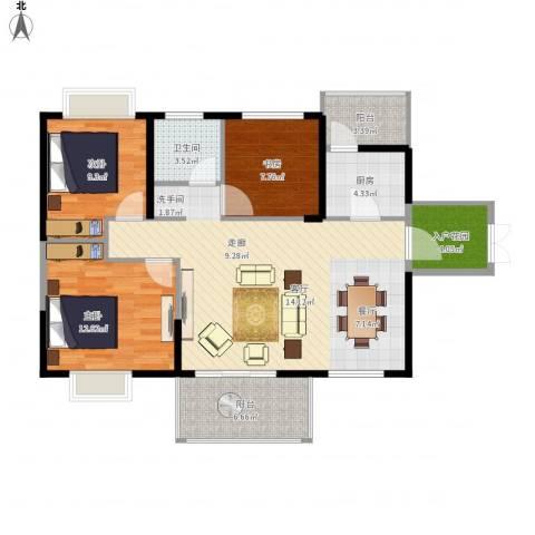 坤元・水木清华3室1厅1卫1厨117.00㎡户型图