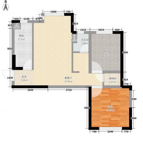 万科红郡1室1厅1卫1厨83.00㎡户型图
