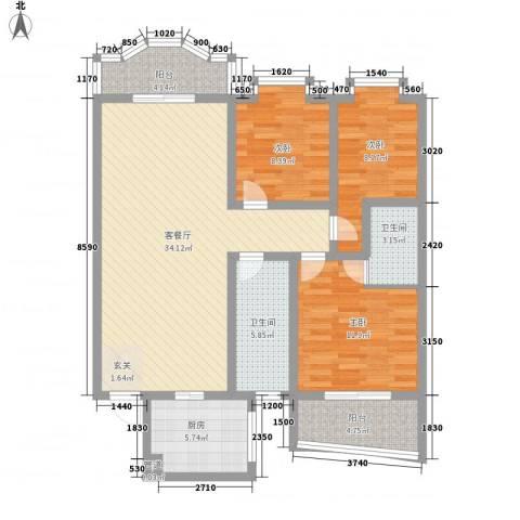 联大凯旋居3室1厅2卫1厨124.00㎡户型图