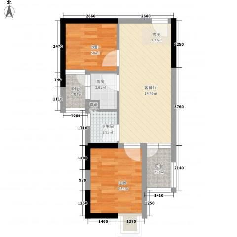 东方新天地大厦2室1厅1卫1厨63.00㎡户型图