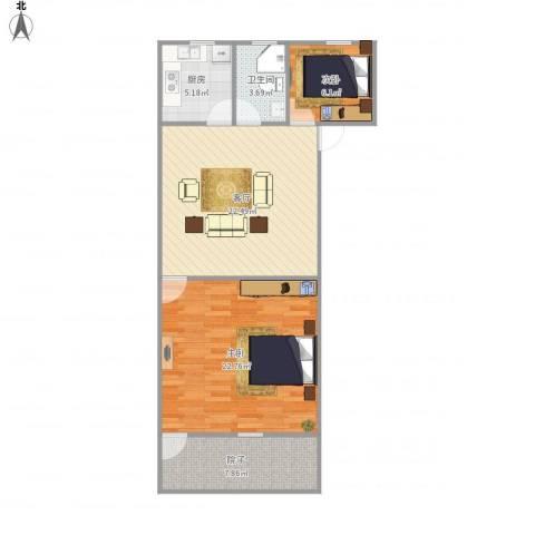 桃园新村2室1厅1卫1厨91.00㎡户型图