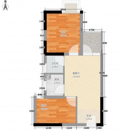 东方新天地大厦2室1厅1卫1厨55.00㎡户型图