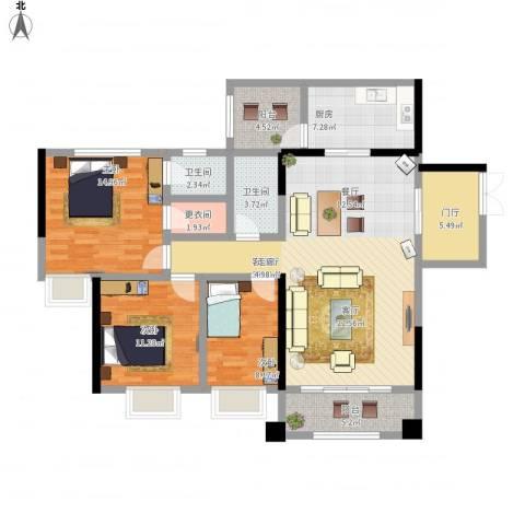 海悦新城3室1厅2卫1厨147.00㎡户型图