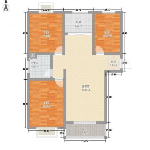 嘉禾颐苑3室1厅1卫1厨128.00㎡户型图