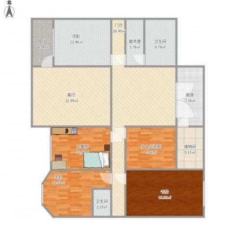 建大花园4室2厅2卫1厨190.00㎡户型图