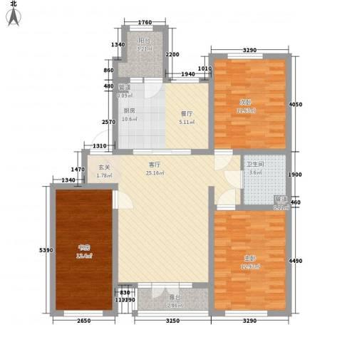 新开苑3室1厅1卫1厨119.00㎡户型图