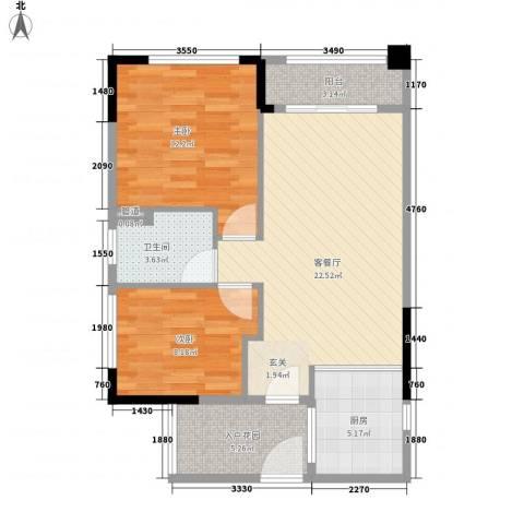 翡翠绿洲别墅2室1厅1卫1厨85.00㎡户型图