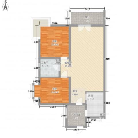 远大明珠2室1厅1卫1厨111.00㎡户型图