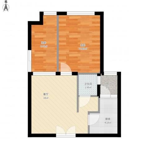 无国界2室1厅1卫1厨61.00㎡户型图