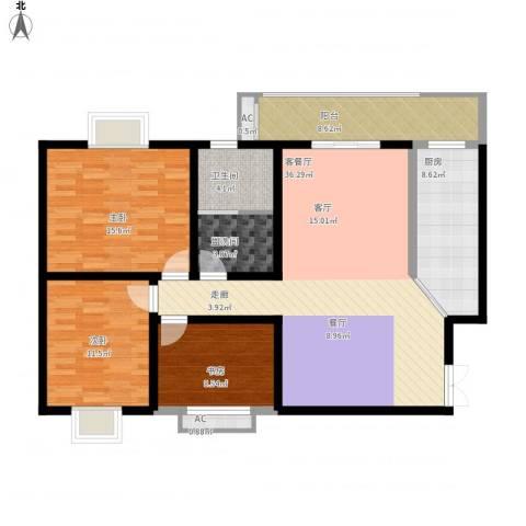 嘉怡豪庭3室1厅1卫1厨141.00㎡户型图