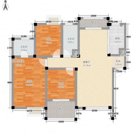 长影阳光景都3室1厅2卫1厨108.00㎡户型图