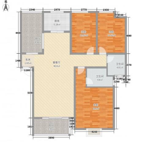 长影阳光景都3室1厅2卫1厨156.00㎡户型图