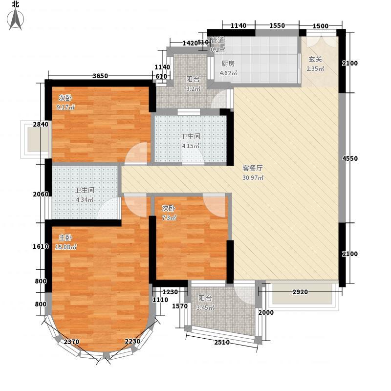 龙园龙凤雅居2栋03户型3室2厅2卫1厨
