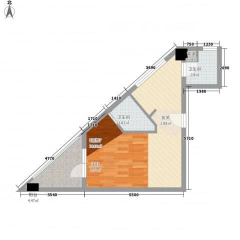 壹克拉公馆1厅2卫0厨45.00㎡户型图