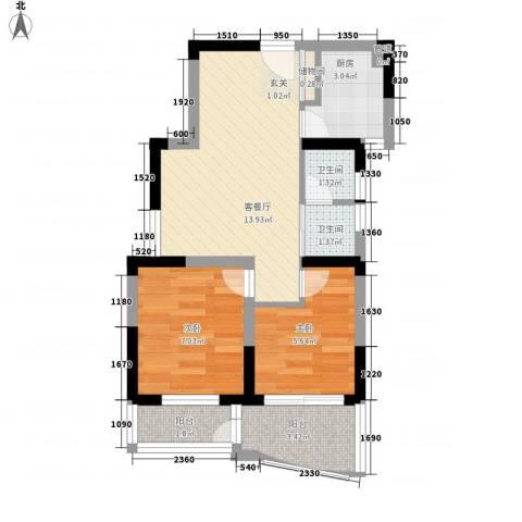 铂爵公馆2室1厅2卫1厨57.00㎡户型图