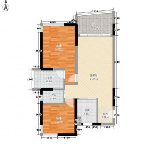 翠洲盈湾2室1厅2卫1厨66.28㎡户型图