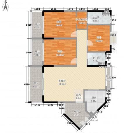丽冠雅居3室1厅2卫1厨139.00㎡户型图