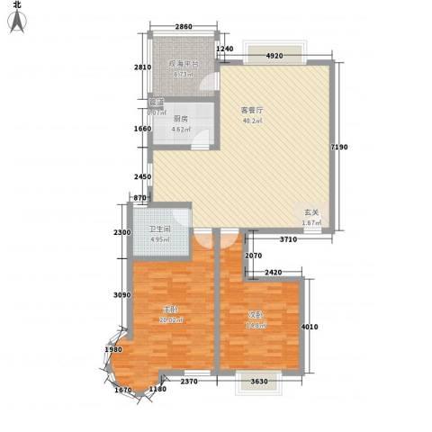 碧海绿洲2室1厅1卫1厨91.39㎡户型图