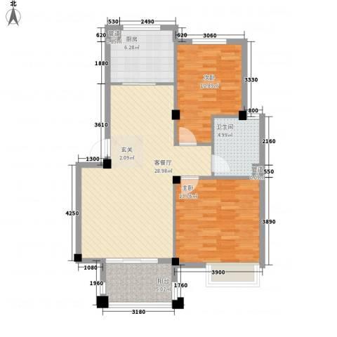 兴伦府2室1厅1卫1厨98.00㎡户型图