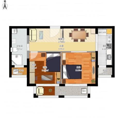 路劲天御2室1厅1卫1厨90.00㎡户型图
