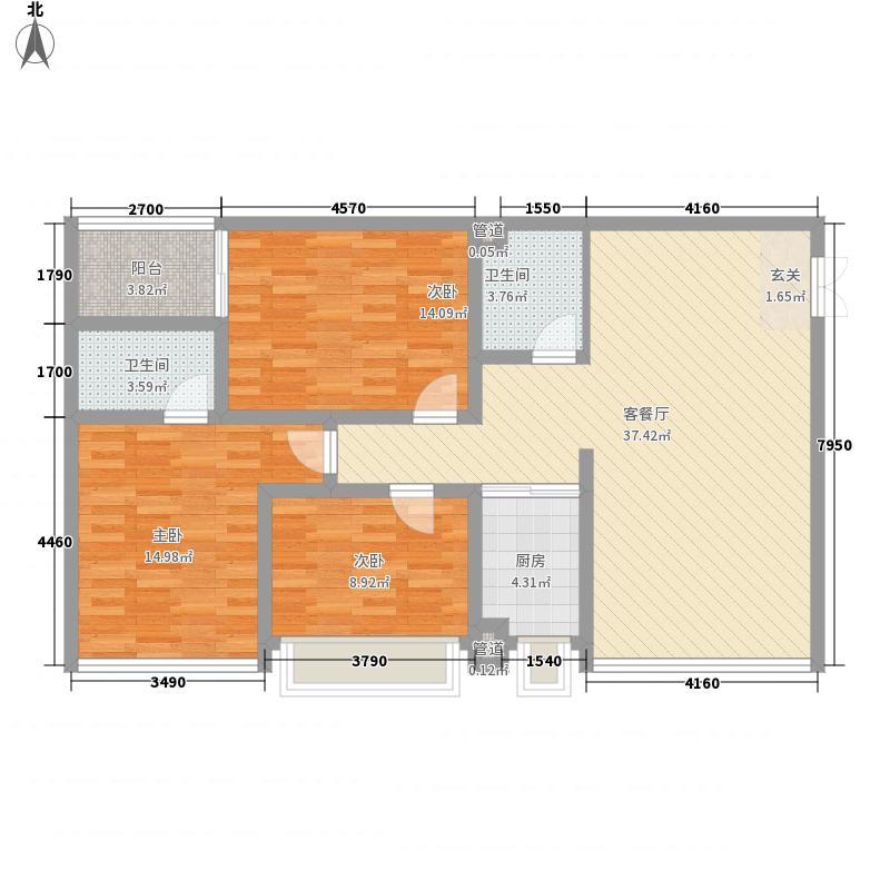 鑫科・时代金典12.31㎡E户型3室2厅2卫1厨