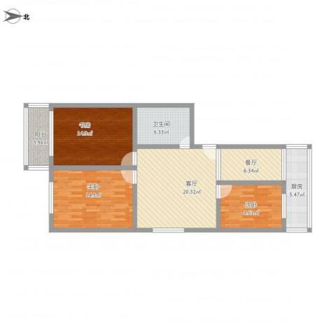 金华里9-43室2厅1卫1厨117.00㎡户型图