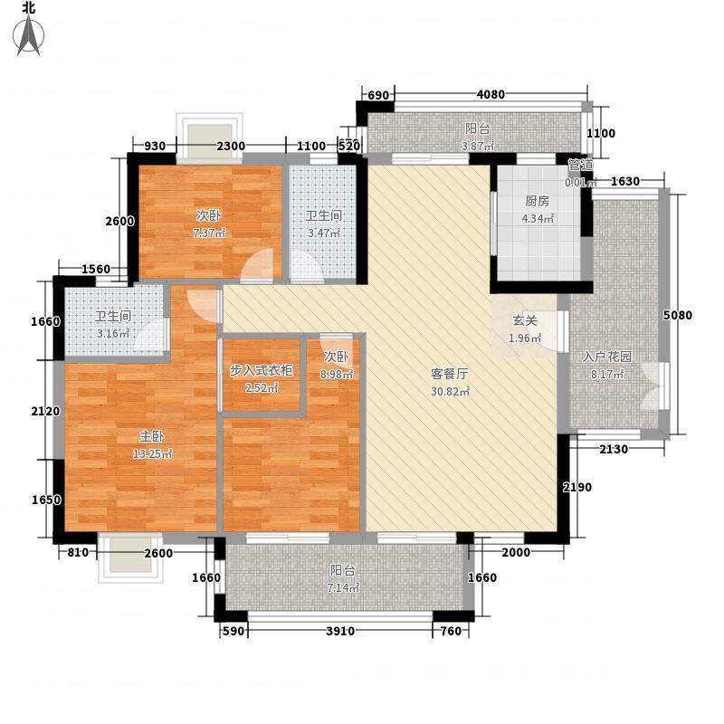 经纬凯旋城133.52㎡誉峰27座标准层01/28座标准层03户型3室2厅2卫1厨