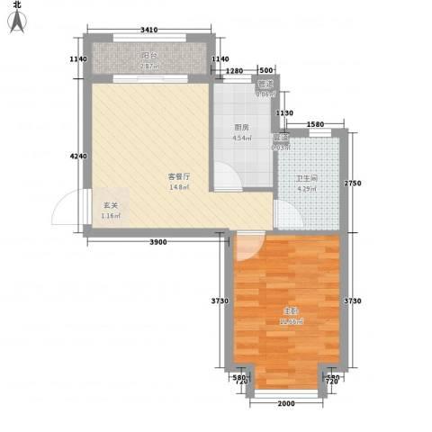 太阳城1室1厅1卫1厨55.00㎡户型图