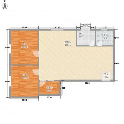 创业大厦3室1厅1卫1厨120.00㎡户型图