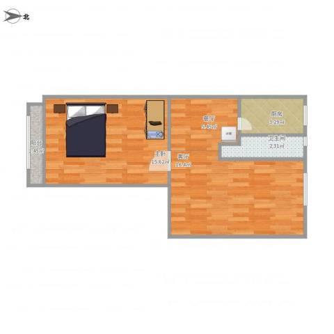 古城环卫楼1室2厅1卫1厨59.00㎡户型图