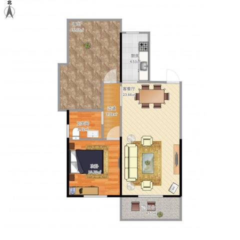 公园海-悦秀园1室1厅1卫1厨88.00㎡户型图