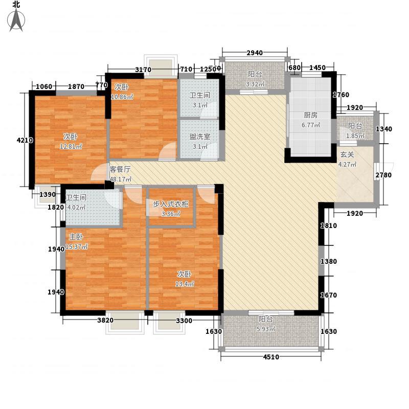百步亭现代城三区178.00㎡A1户型4室2厅2卫1厨