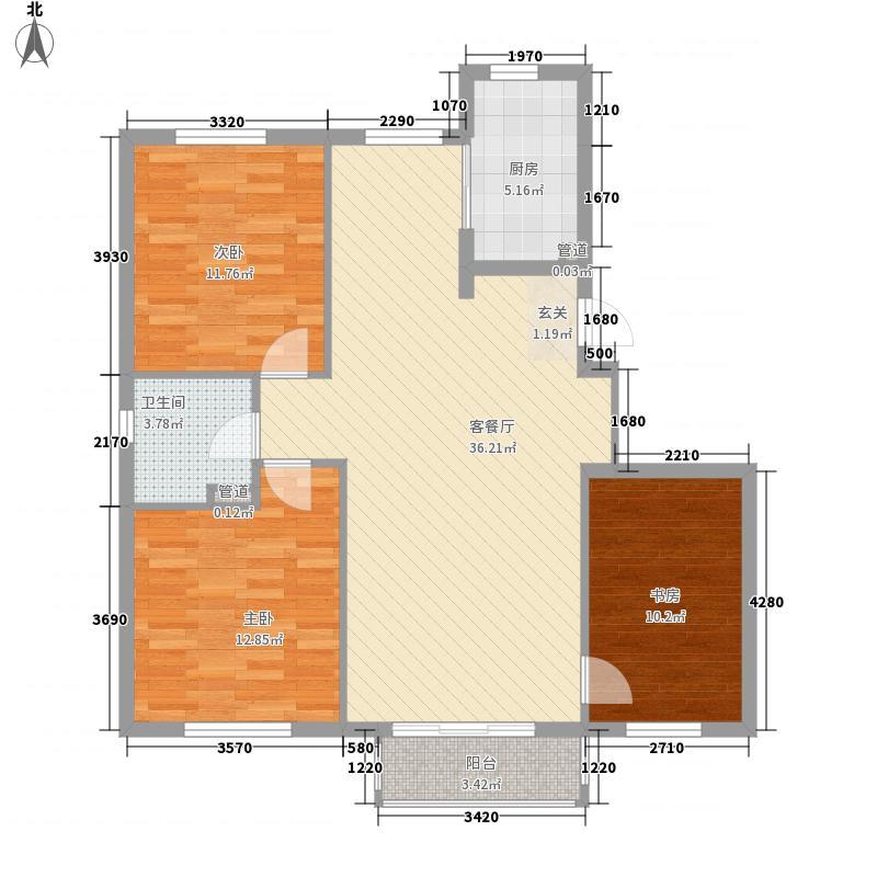 西山逸林115.51㎡户型3室2厅1卫1厨