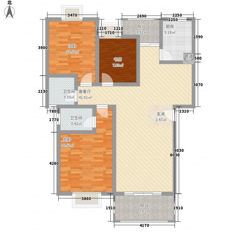 融洲风情118.30㎡4#J1户型3室2厅2卫1厨