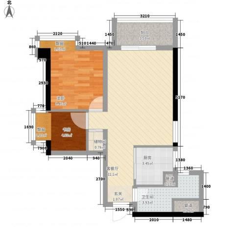 时代财富城2室1厅1卫1厨74.00㎡户型图