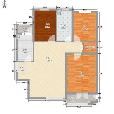 御�豪庭3室1厅1卫1厨119.00㎡户型图