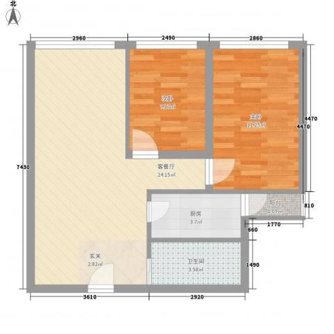 天地海景花园2室1厅1卫1厨72.00㎡户型图