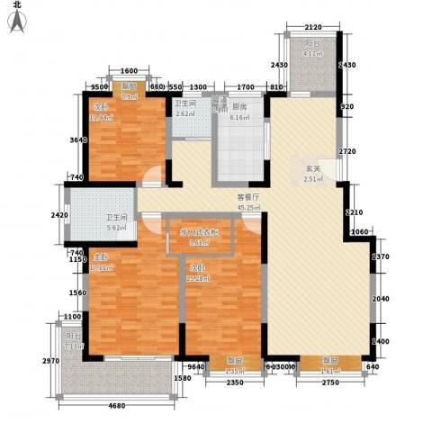 香港映象二期3室1厅2卫1厨170.00㎡户型图
