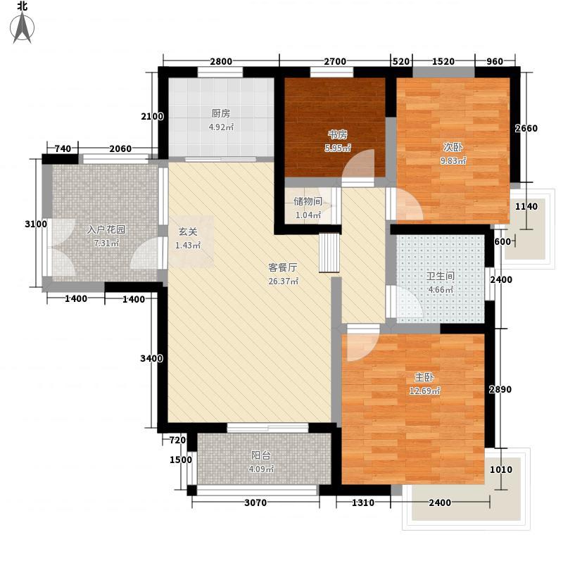 康城项目13.38㎡1#2#4#楼D户型3室2厅1卫