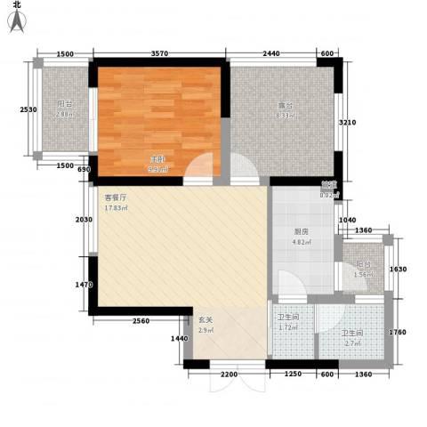 铭城16号1室1厅2卫1厨71.00㎡户型图